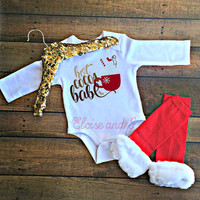christmas outfits, first christmas, holiday clothes, hot cocoa babe, holiday bodysuit, newborn baby girl outfit, toddler boy shirt