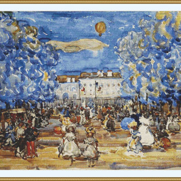 The Balloon by Maurice Prendergast CROSS STITCH PATTERN 901