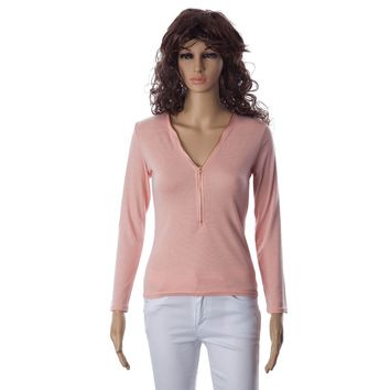 Casual Style V-Neck Solid Color Zipper Design Long Sleeve Women's T-Shirt