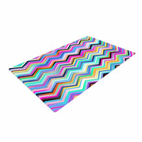 "Dawid Roc ""Colorful Rainbow Chevron"" Multicolor Blue Woven Area Rug"