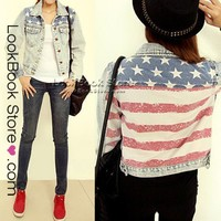 Lookbookstore Womens Stars and Stripes American Flag Back Printed Denim Jeans Crop Jacket Top @lookbookstore #lookbookstore