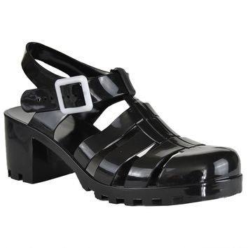 Fashion Online Womens Platform Sandals Jelly Strappy Low Heel Casual Shoes Black