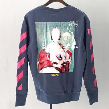 Off White Autumn And Winter Fashion New Letter Painting Print Long Sleeve Sweater Top Blue