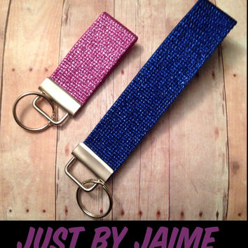 Glitter keychains or zipper pulls - mini or wristlet style - 9 colors -keep track of your keys or attach to a zipper - 3 inches or 6 inches