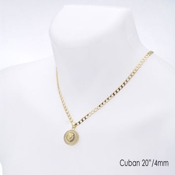 "Jewelry Kay style Men's Lion Head CZ Medallion Pendant 20"" / 22"" Cuban Chain Necklace Set CP 282 G"