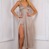 Amber satin evening dress - Taupe - Stelly