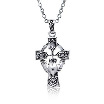 Claddagh Heart Cross Pendant Necklace Oxidized 925 Sterling Silver