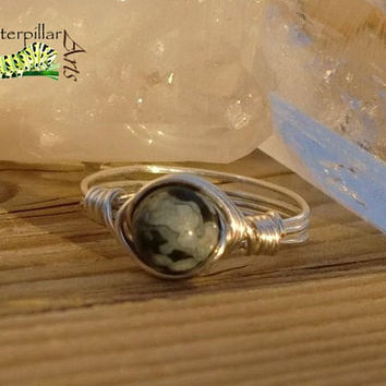 Snowflake Obsidian Ring Wire Wrapped - Custom Made to Order - Silver Plated Copper