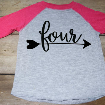Girls Four Birthday Shirt