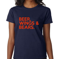 Beer Wings And Bears Football T Shirt Funny Printed Bears Chicago Football T-shirt Ladies Mens Shirts Awesome Sunday Funday t shirt Xmas