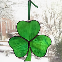 Shamrock Stained Glass Suncatcher - Irish Decor - St. Patrick's Day Decoration - Irish Gift - Clover - Irish Ornament - Green Glass
