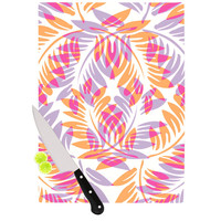 "Alison Coxon ""Summer Fern"" Pink Orange Cutting Board"