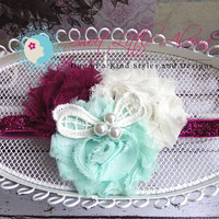 baby headbands - Infant Hair Accessories - Flower Girl Headband - Pearl Headband - Shabby Hair Clip - Hair Bow