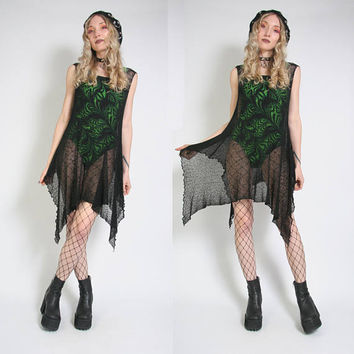 90s Goth Black Mesh Dress - Sheer Dress - Cyber Goth Y2K - Swimsuit Cover - Web Dress - Vintage Shawl - 90s Grunge Dress - Fishnet