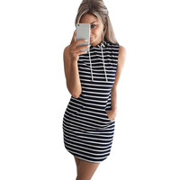 Summer Autumn 2016 Women Casual Hooded Pocket Mini Dress Female Stripe Slim Bodycon Sexy Party Club Dresses Vestidos Plus Size