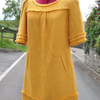 Monsoon Mustard Yellow Wool Blend 60's 70's Style Retro VINTAGE SHIFT DRESS Size 10