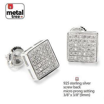 Jewelry Kay style Men's 925 Silver Hip Hop Square Flat Screen Screw Back Stud Pave Earrings 455 S