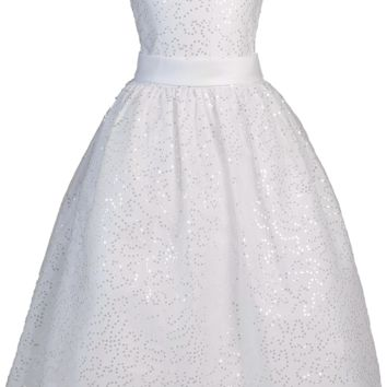 Girls Sequined Tulle Communion Dress w. Satin Trim Plus Size 8x-20x
