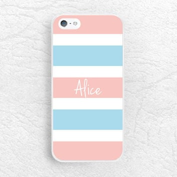 Monogram Phone Case for iPhone 6 iPhone 5 5s, Sony z1 z2 z3, LG G2 nexus 6, Moto G Moto X - Custom name striped case with personalized name
