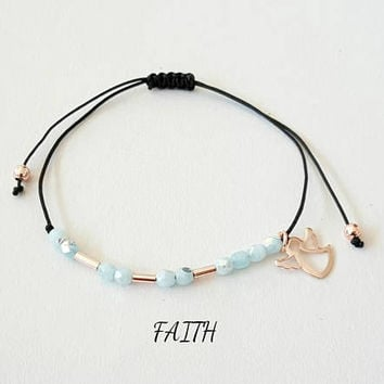 Morse code bracelet, faith bracelet, angel bracelet, rose gold, friends gift, wish bracelet, custom morse code bracelet, string bracelet