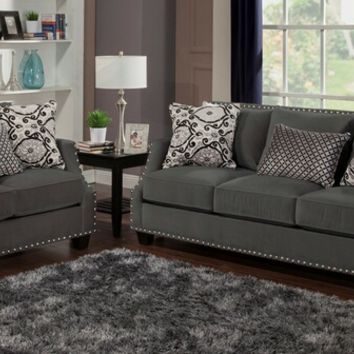 Benchley Odyssey S/L Coal 2 pc odyssey collection coal color fabric upholstered sofa and love seat with nail head trim