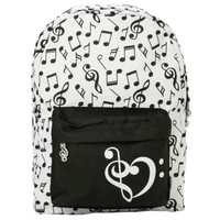 Black White Music Note Backpack
