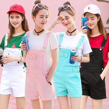 Overalls Denim Shorts for Women Kawaii Vintage High Waist Summer Casual Candy Color Female Mini Shorts Harajuku Jeans WS6509