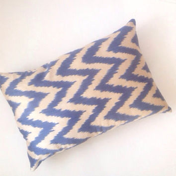Blue Zigzag Silk Ikat Pillow Cover, Silk Cushion Cover
