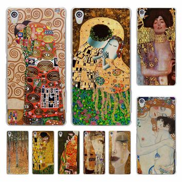 the kiss Gustav Klimt Painting Frida Kahlo hard transparent Cover Case for Sony Xperia z5 compact z5 premium z4 z3 M4 M5 XA
