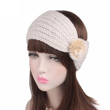 2017 Winter Warm Ear Headband Turban For Women Crochet Bow Stretch Fur Ball Women Knitted Headband Handmade 23*12cm #3