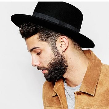 b4119a90c47 100% Wool Boater Flat Top Hat For Men s Women Winter Autumn Felt