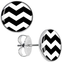 Body Candy Black White Chevron Stud Earrings