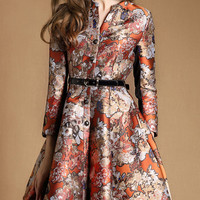 Floral Buttoned Jacquard Coat with Belt