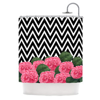 "Suzanne Carter ""Camellia"" Chevron Flower Shower Curtain"