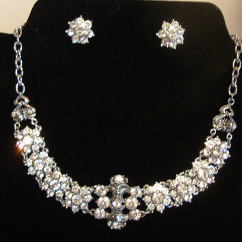 Vintage Rhinestone Necklace and Matching Earrings Wedding Downton Abbey Great Gatsby 1920's Art Deco