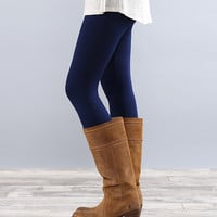 Coco and Main Navy Fleece-Lined Leggings - Women | zulily
