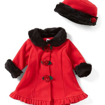 Starting Out Baby Girls 3-24 Months Faux-Fur Trim Coat & Matching Hat Set | Dillards
