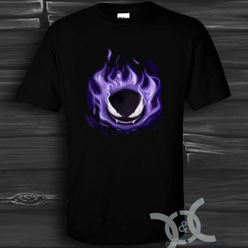 pokemon gengar Black Design By Custom And Clothing T-Shirt men size S,M,L,XL