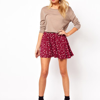 ASOS Skater Skirt in Hummingbird Print