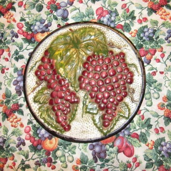 Mid Century Rustic Grapes Plate Wall Decor Porcelain Textured Wall Art