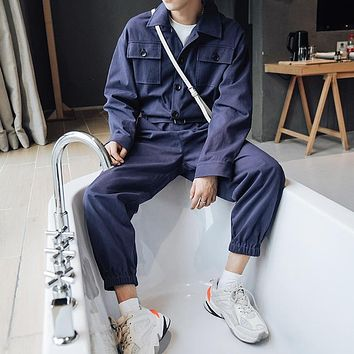 Spring Autumn Fashion Cargo Jumpsuit Men's Long-sleeved Working Tooling Overalls Male Multi Pockets Loose Casual Uniform DS50403