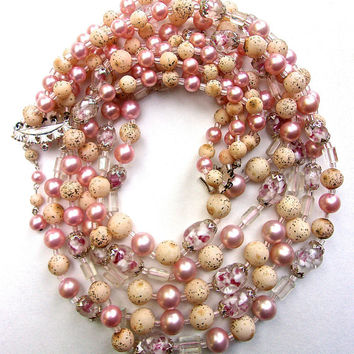 704db15c2243a5 JAPAN 5-Multi Strand Faux Pink Pearl Necklace Earrings Set, Glas