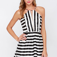 Compare and Contrast Black and Ivory Striped Dress