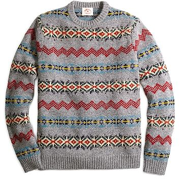 Men's Fair Isle Stripe Crewneck Sweater