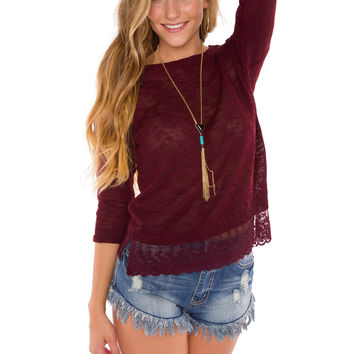 Life Of Luxury Lace Top - Burgundy