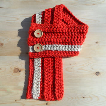 Chunky Crochet Cowl: Orange & Cream Stripe