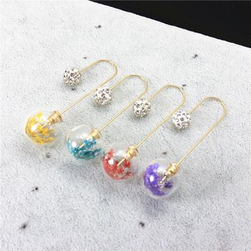 Double Face Simulation Ball Earring Unique Designed Stardust Fashion Jewelry Glass Ball Dried Flower Filled Earrings