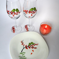 Hand painted wedding set of Wine glasses and plate Green birds on branch