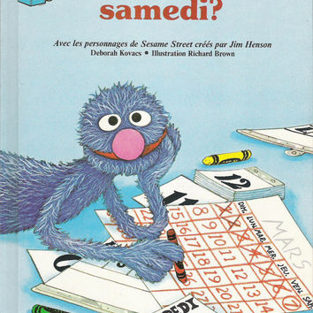 Vintage French Sesame Street Book 1980's Sesame Street Book Vintage French Children's Book French Teacher Jim Henson French Educational