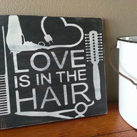 Hand Painted HAIRSTYLIST Hair Dresser Beautician Cosmetologist Theme WOOD SIGN - Salon Decor - Salon Sign